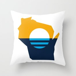 Wisconsin Outline - People's Flag of Milwaukee Throw Pillow
