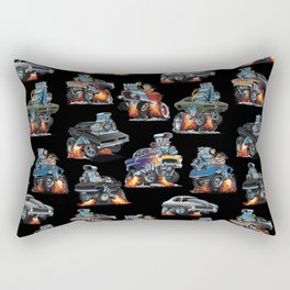 Car Crazy Classic Hot Rod Muscle Cars Cartoons Seamless Pattern Rectangular Pillow