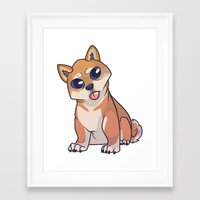 shiba inu Framed Art Prints featuring Shiba Inu by Suzanne Annaars