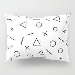Memphis Geometry ((black on white)) Pillow Sham