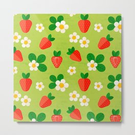 Strawberry pattern Metal Print