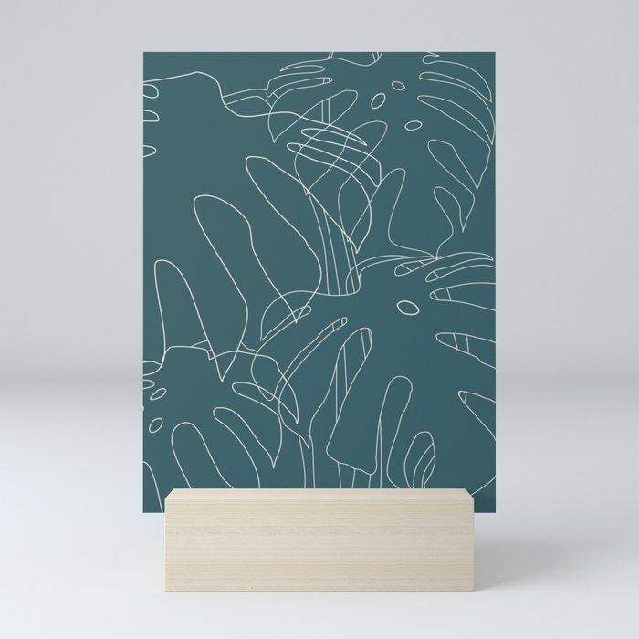 Monstera No2 Teal Mini Art Print