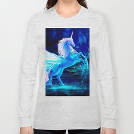 Unicorn Forest Stars Cristal Blue Long Sleeve T-shirt