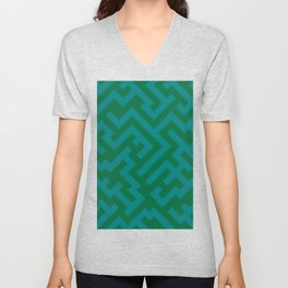 Teal Green and Cadmium Green Diagonal Labyrinth Unisex V-Neck