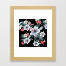 Tropical banana leaf, hibiscus vintage style, Hawaiian decor, retro Framed Art Print