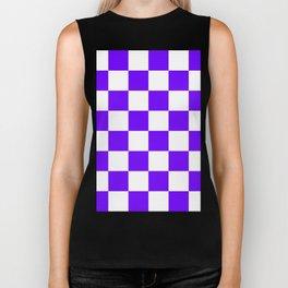 Large Checkered - White and Indigo Violet Biker Tank