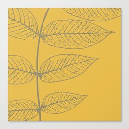 Leaves, Gray and Yellow Ochre Canvas Print