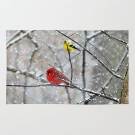 Goldfinch and Cardinal Rug