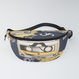 Fashion hipster pattern with cassette on shabby background Fanny Pack