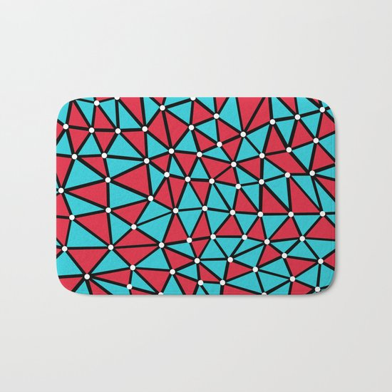African Triangles Red and Blue Bath Mat