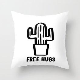 """Free Hugs"" Cactus Illustration Black and White Throw Pillow"
