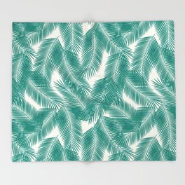 Green Tropical Palm Leaves Throw Blanket