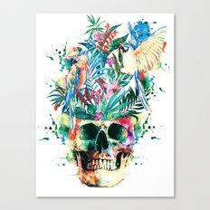 Skull - Parrots Canvas Print