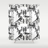 tits Shower Curtains featuring Blue Tits and Catkins by LindaWinegum