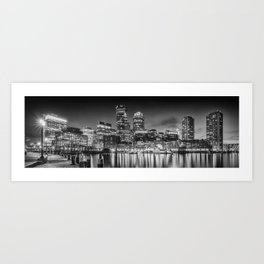 BOSTON Fan Pier Park & Skyline in the evening | Monochrome Panoramic Art Print