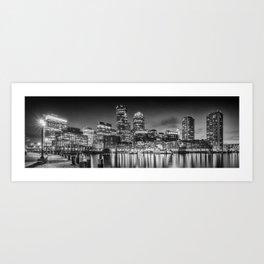 BOSTON Fan Pier Park & Skyline in the evening | Monochrome Panoramic Art Print