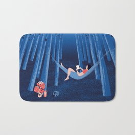 Reading alone in the woods at night Bath Mat