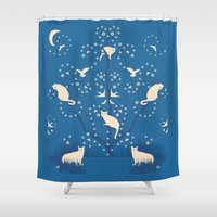 twilight Shower Curtains featuring twilight tomcats by Gray