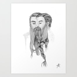 BEARD BRAID Art Print
