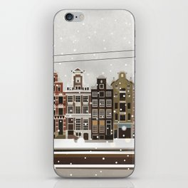 Amsterdam in the snow iPhone Skin