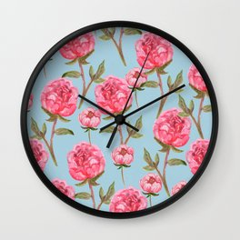 Pink Peonies On Blue Background Wall Clock