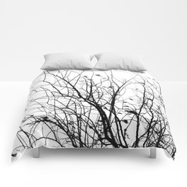 Black white tree branch bird nature pattern Comforters