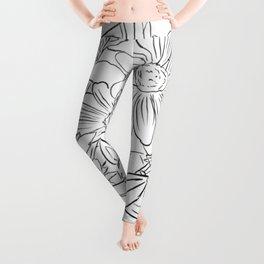 Backyard Flowers - Line Art Leggings