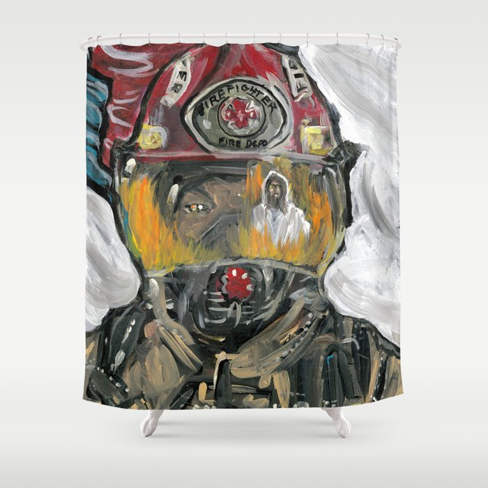 Christian fire Fighter Shower Curtain