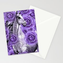 HORSES AND PURPLE ROSES AND HORSES Stationery Cards