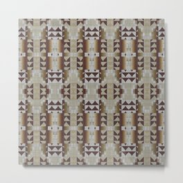Khaki Beige Coffee Caramel Dark Brown Rustic Native American Indian Mosaic Pattern Metal Print