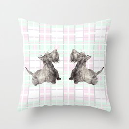 Scottie: Scottish Terrier Watercolor Dog Painting Throw Pillow