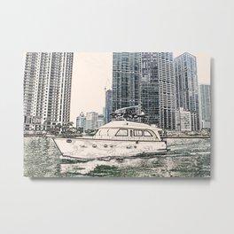Boat Miami Beach Florida ArtWork Panting Metal Print