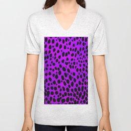 Pink Purp Dalmatian Print Unisex V-Neck