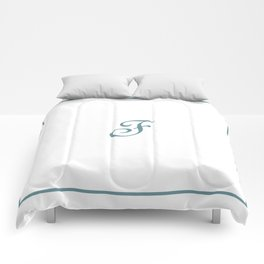 Monogram Letter F in Sea Spray and White Comforters