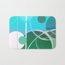 Turquoise Green Ombré Circle Abstract Design 2 Bath Mat
