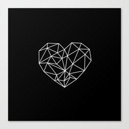 Black and White Geometric Heart Canvas Print