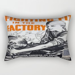 Vintage poster - Fighting Fit in the Factory Rectangular Pillow