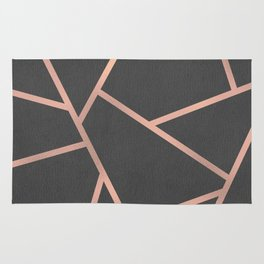 Dark Grey and Rose Gold Textured Fragments - Geometric Design Rug