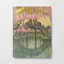 Kameido Bridge Hiroshi Yoshida Vintage Japanese Woodblock Print Metal Print