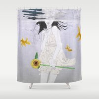 planet Shower Curtains featuring water planet by SEVENTRAPS