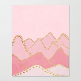Pink Mountains with gold dots Canvas Print