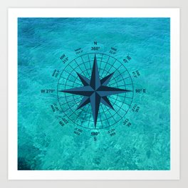 Compass on Turquoise Water Art Print