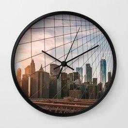 Sunset Brooklyn Bridge Wall Clock