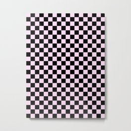 Black and Pink Lace Pink Checkerboard Metal Print