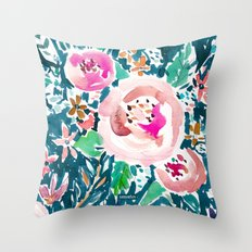 PLENITUDE FLORAL Navy Peach Watercolor Throw Pillow