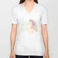 bubbles V-neck T-shirts featuring Bubbles by Ariana Perez
