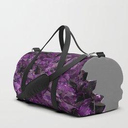 PURPLE AMETHYST CRYSTALS GREY ART Duffle Bag