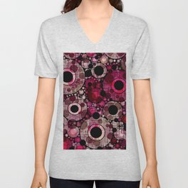 Vibrant Abstract Pink Bubbles design Unisex V-Neck