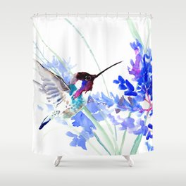 Flying Hummingbird and Blue Flowers Shower Curtain