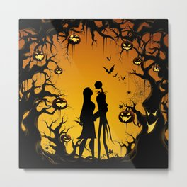 Romantic Halloween Jack & Sally Metal Print